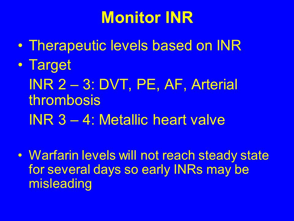 Monitor INR Therapeutic levels based on INR Target