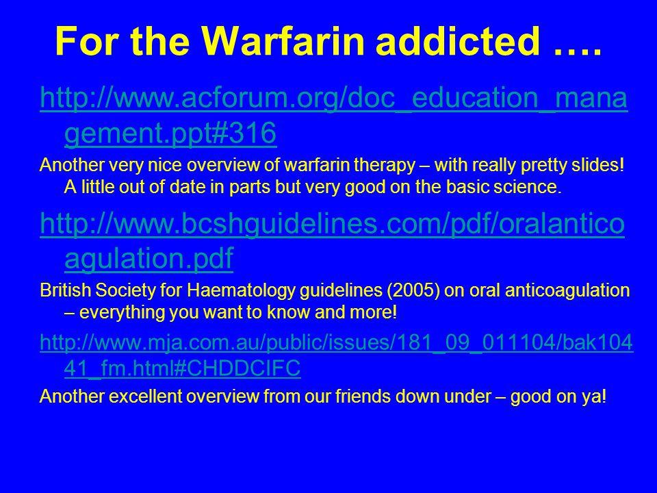 For the Warfarin addicted ….