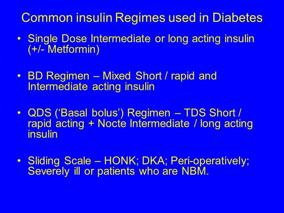 Common insulin Regimes used in Diabetes