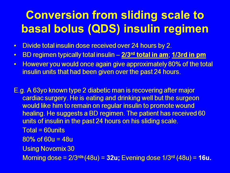 Conversion from sliding scale to basal bolus (QDS) insulin regimen