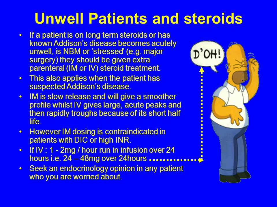 Unwell Patients and steroids