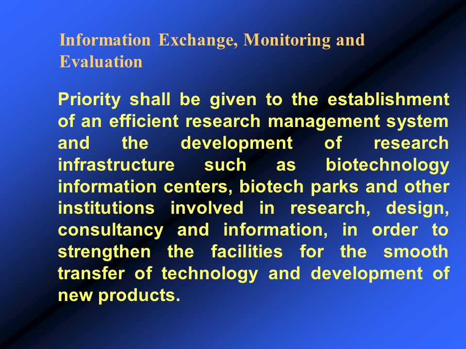 Information Exchange, Monitoring and Evaluation