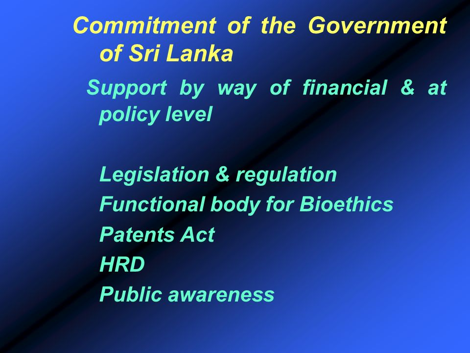Commitment of the Government of Sri Lanka