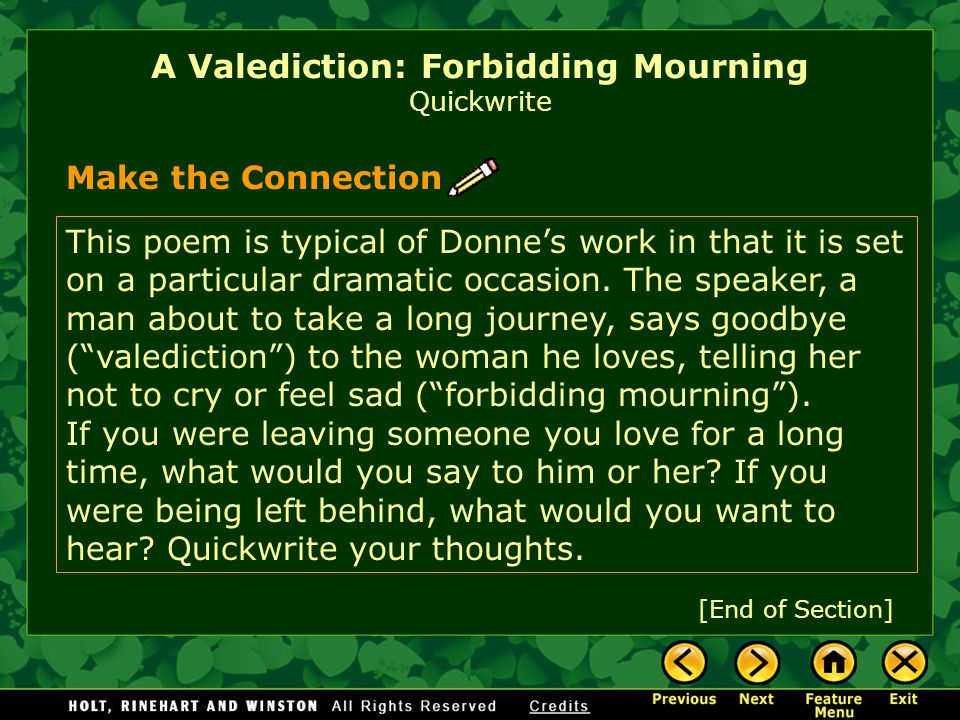 A Valediction: Forbidding Mourning Quickwrite