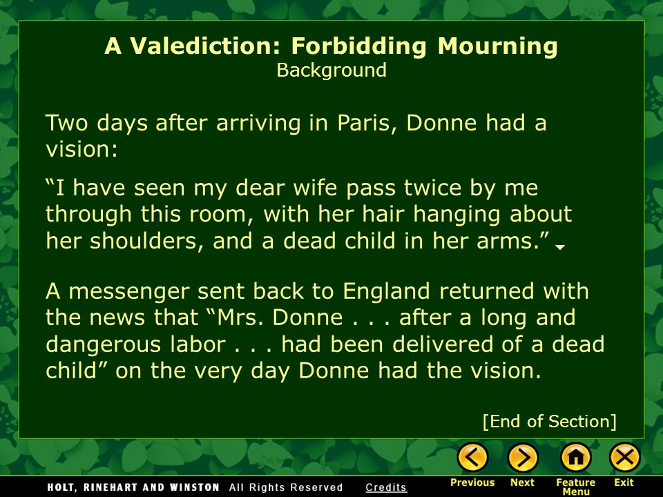 A Valediction: Forbidding Mourning Background