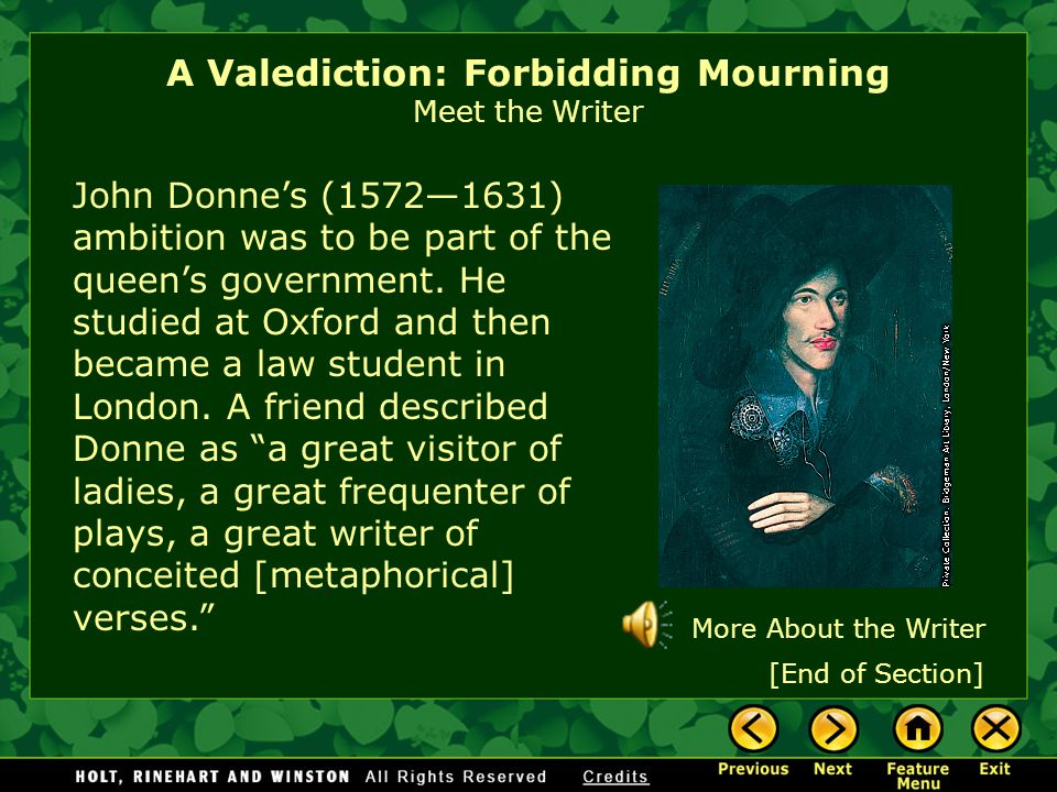 A Valediction: Forbidding Mourning Meet the Writer