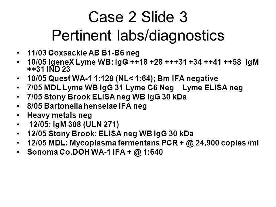Case 2 Slide 3 Pertinent labs/diagnostics