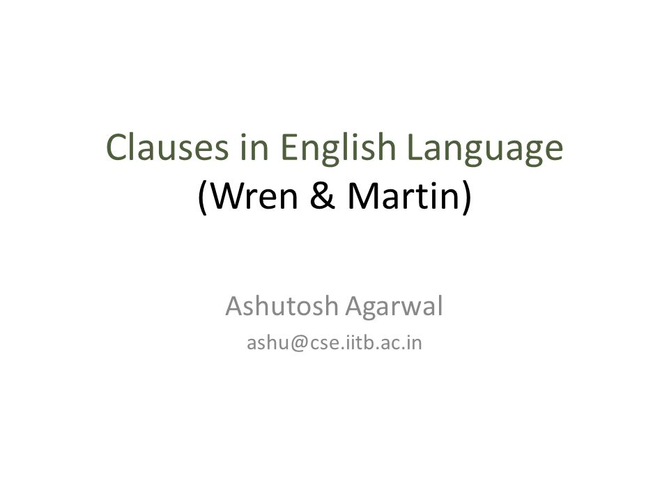 Clauses in English Language (Wren & Martin)