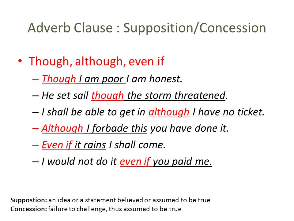 Adverb Clause : Supposition/Concession