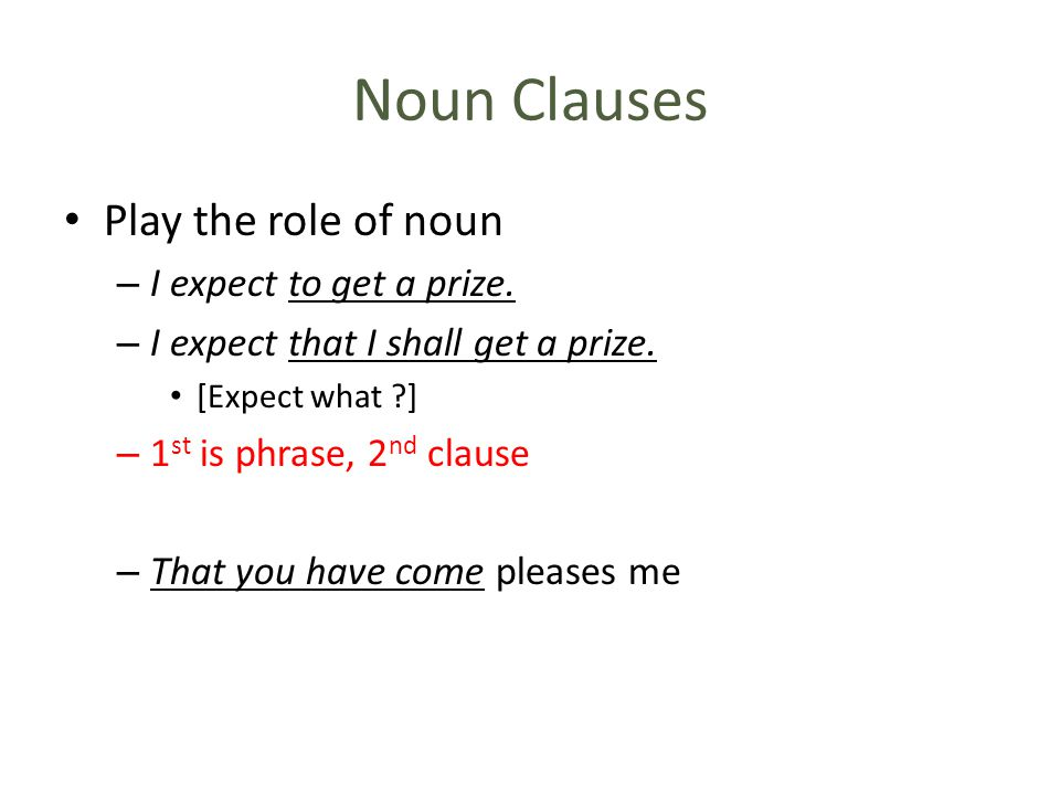 Noun Clauses Play the role of noun I expect to get a prize.