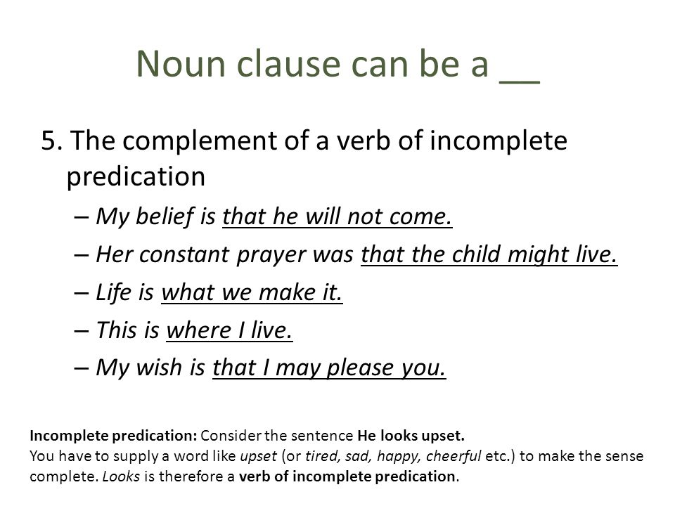 Noun clause can be a __ 5. The complement of a verb of incomplete predication. My belief is that he will not come.