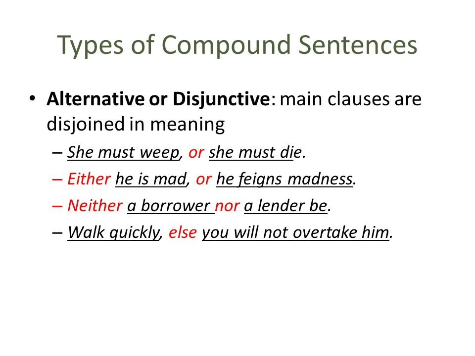 Types of Compound Sentences