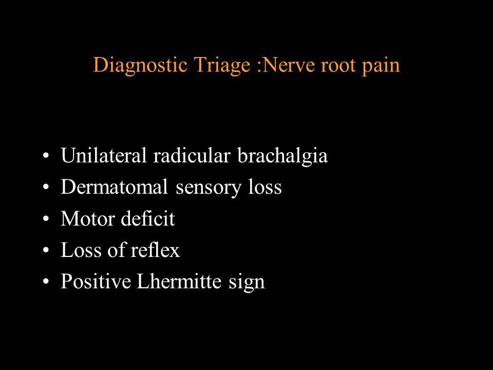 Diagnostic Triage :Nerve root pain