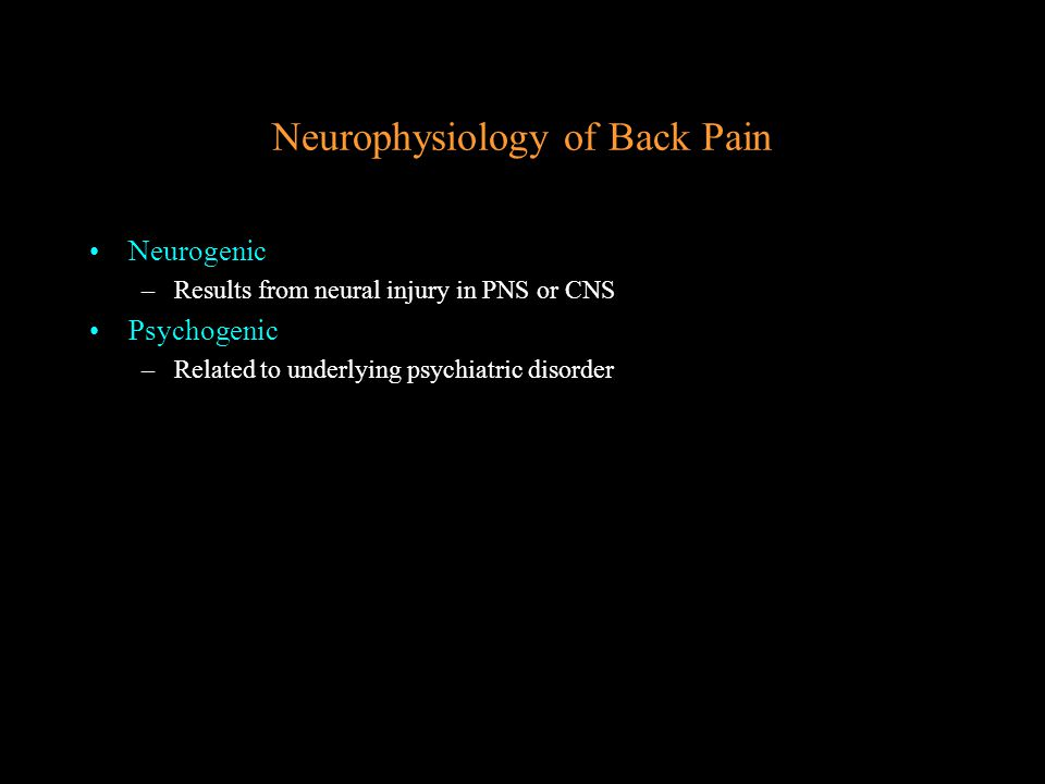Neurophysiology of Back Pain