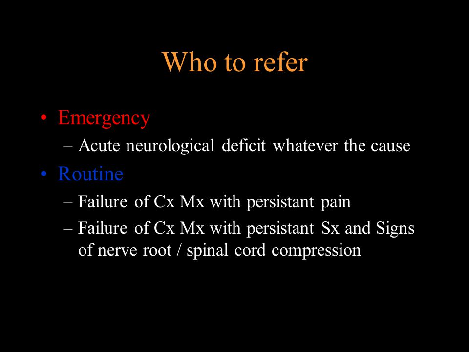 Who to refer Emergency Routine