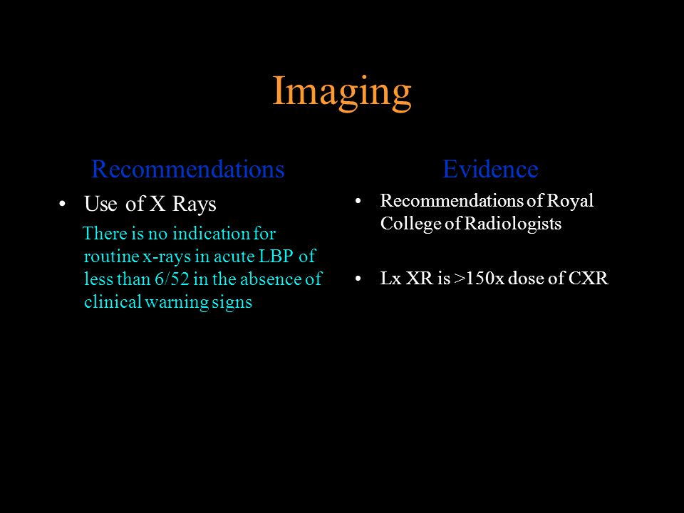 Imaging Recommendations Evidence Use of X Rays