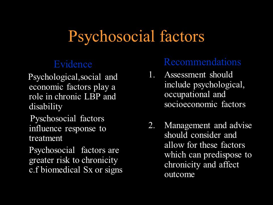 Psychosocial factors Recommendations Evidence