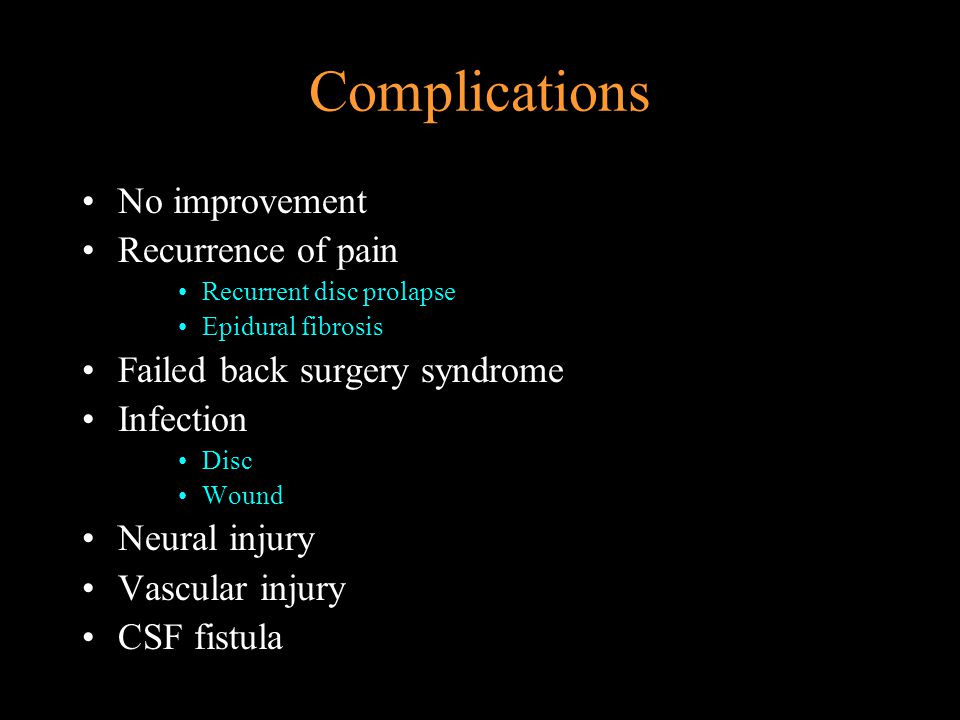 Complications No improvement Recurrence of pain