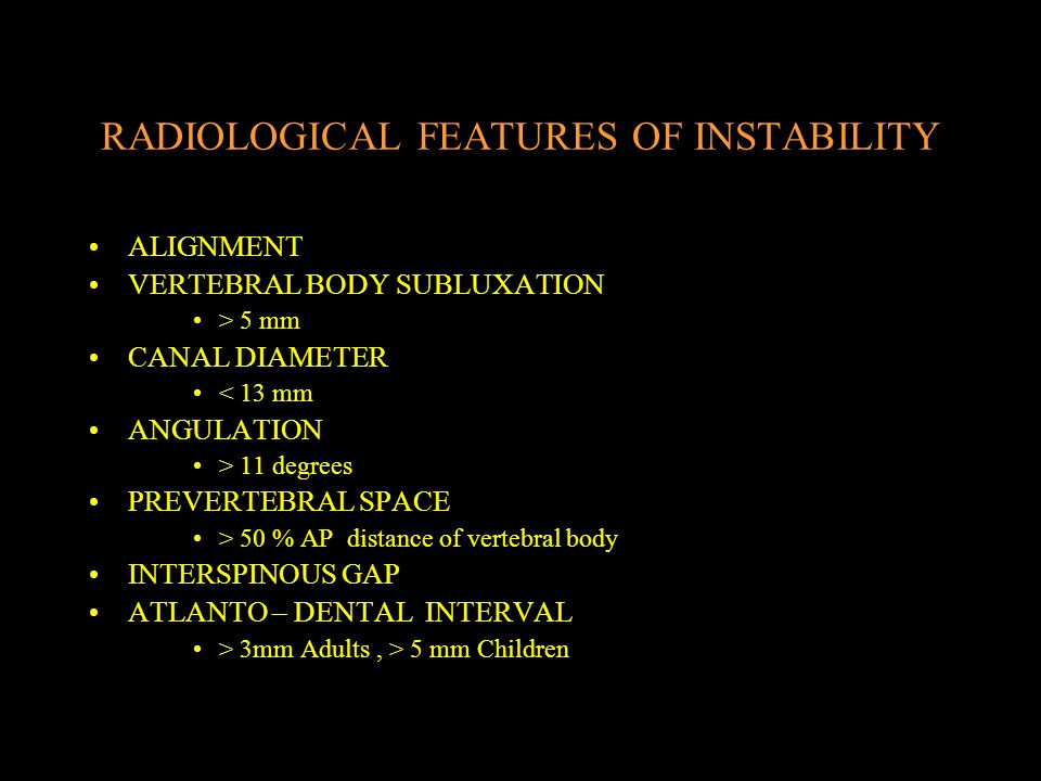 RADIOLOGICAL FEATURES OF INSTABILITY