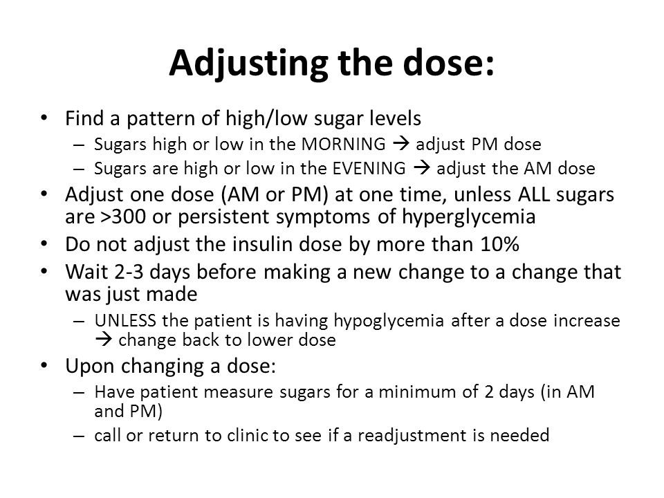 Adjusting the dose: Find a pattern of high/low sugar levels
