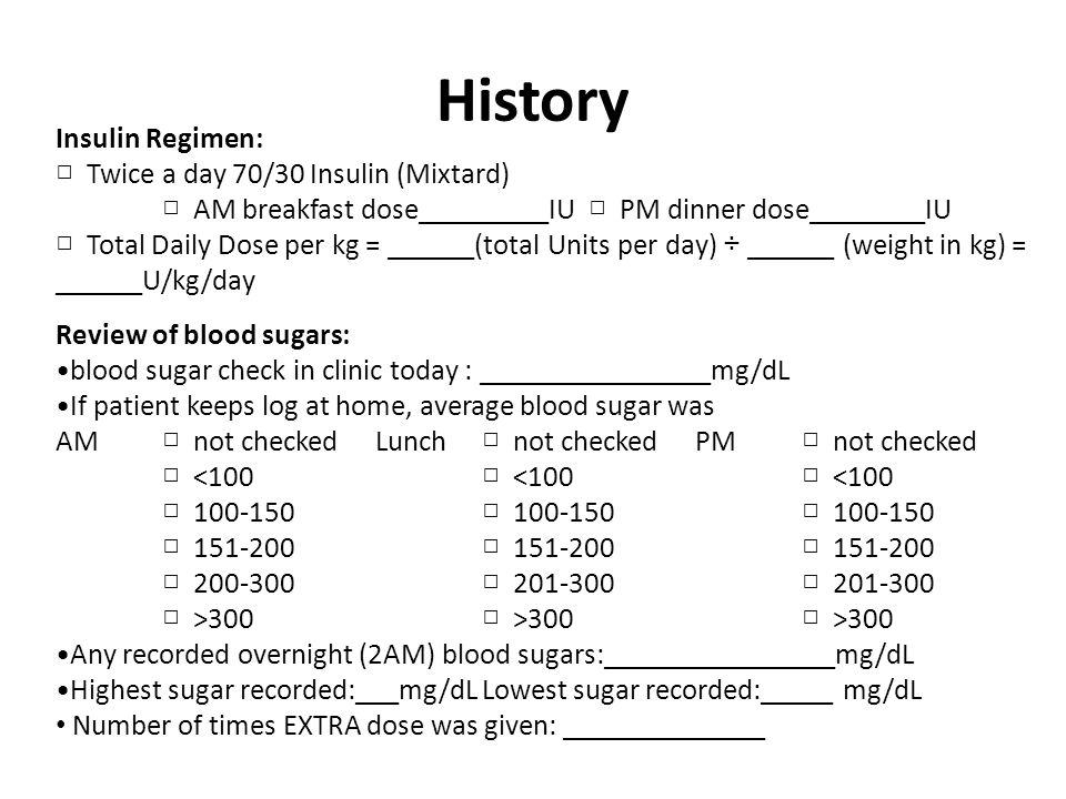 History Insulin Regimen: □ Twice a day 70/30 Insulin (Mixtard)