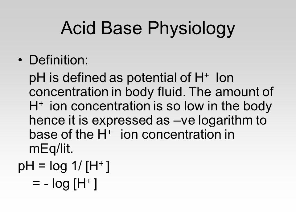 Acid Base Physiology Definition: