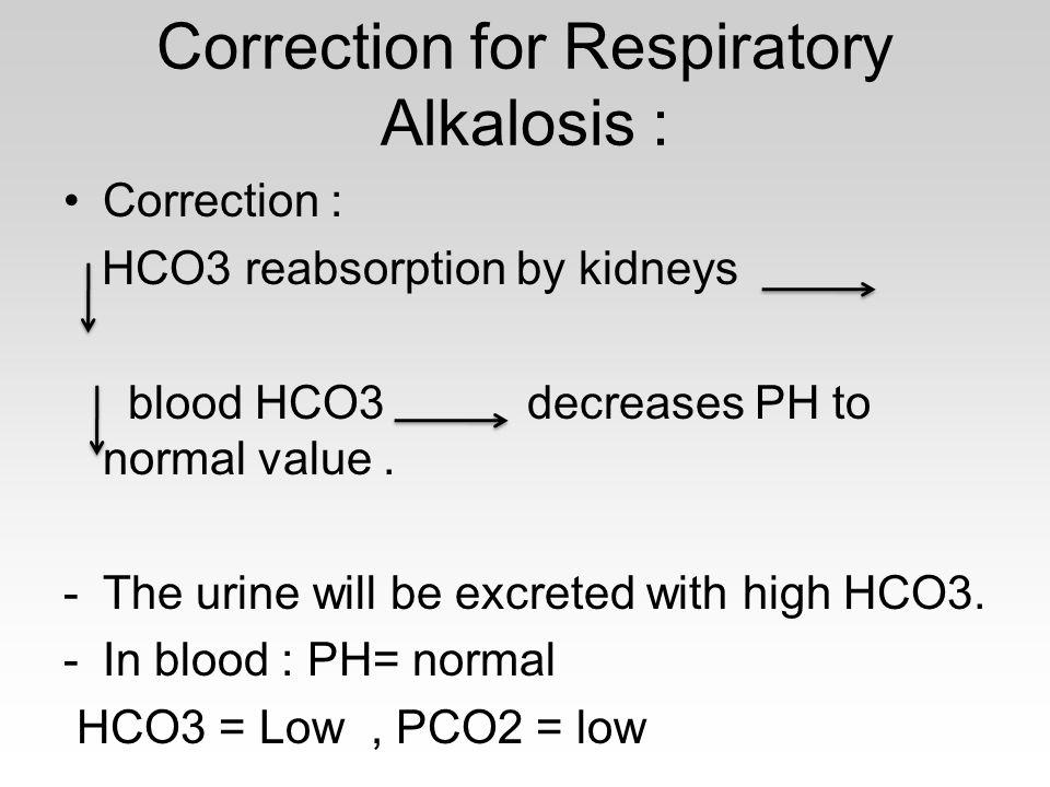 Correction for Respiratory Alkalosis :