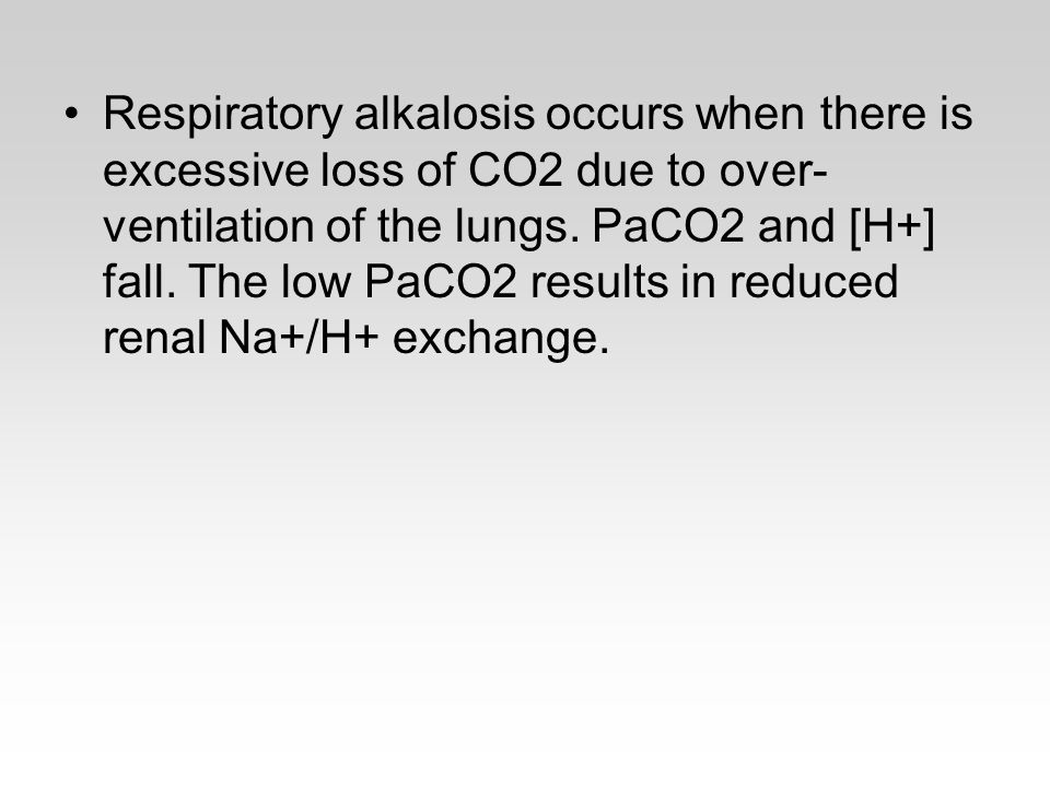 Respiratory alkalosis occurs when there is excessive loss of CO2 due to over-ventilation of the lungs.
