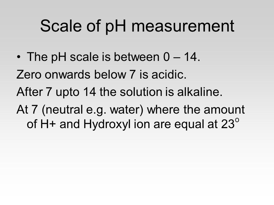 Scale of pH measurement