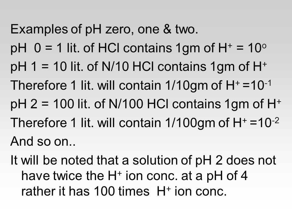 Examples of pH zero, one & two.
