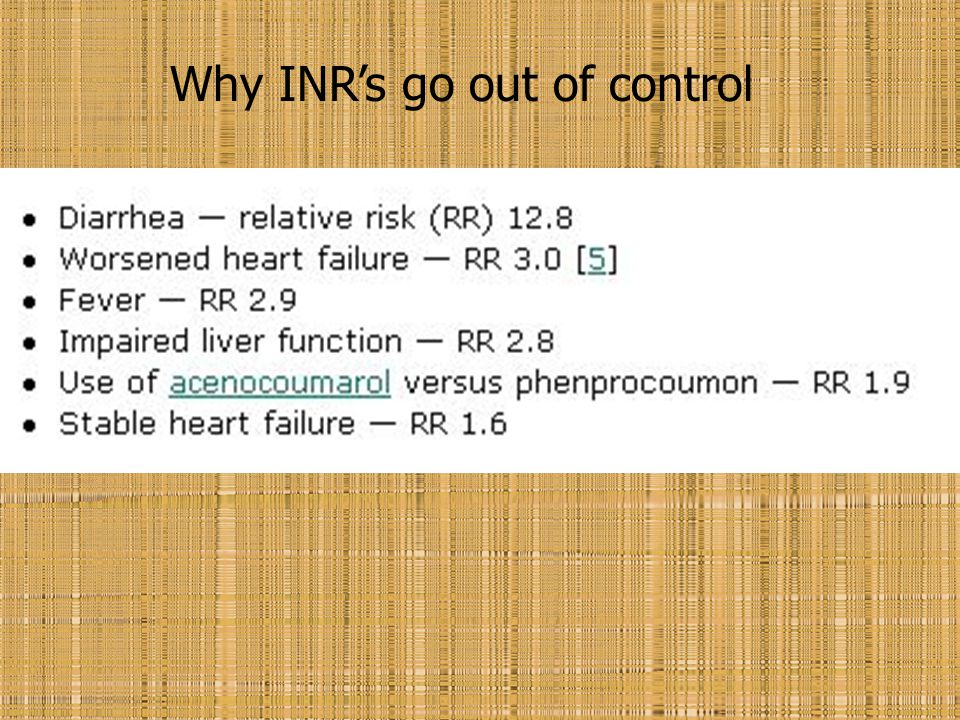 Why INR's go out of control