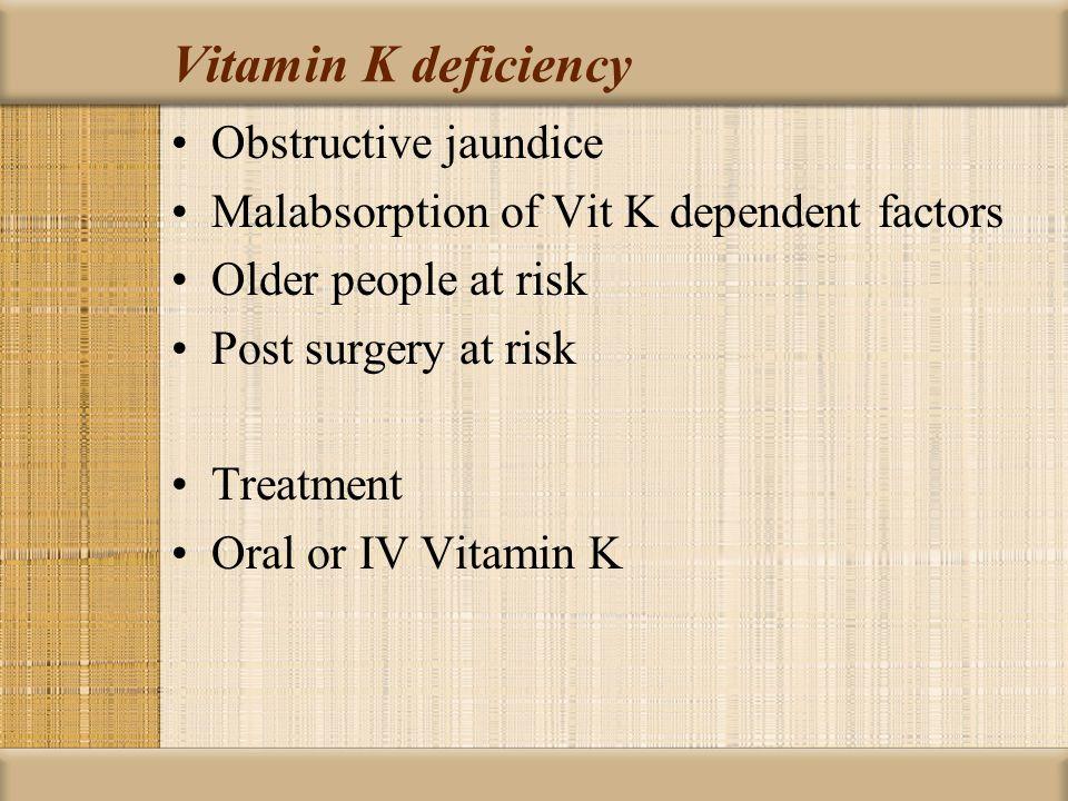 Vitamin K deficiency Obstructive jaundice