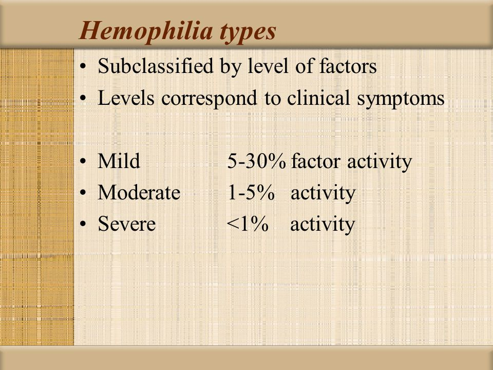 Hemophilia types Subclassified by level of factors