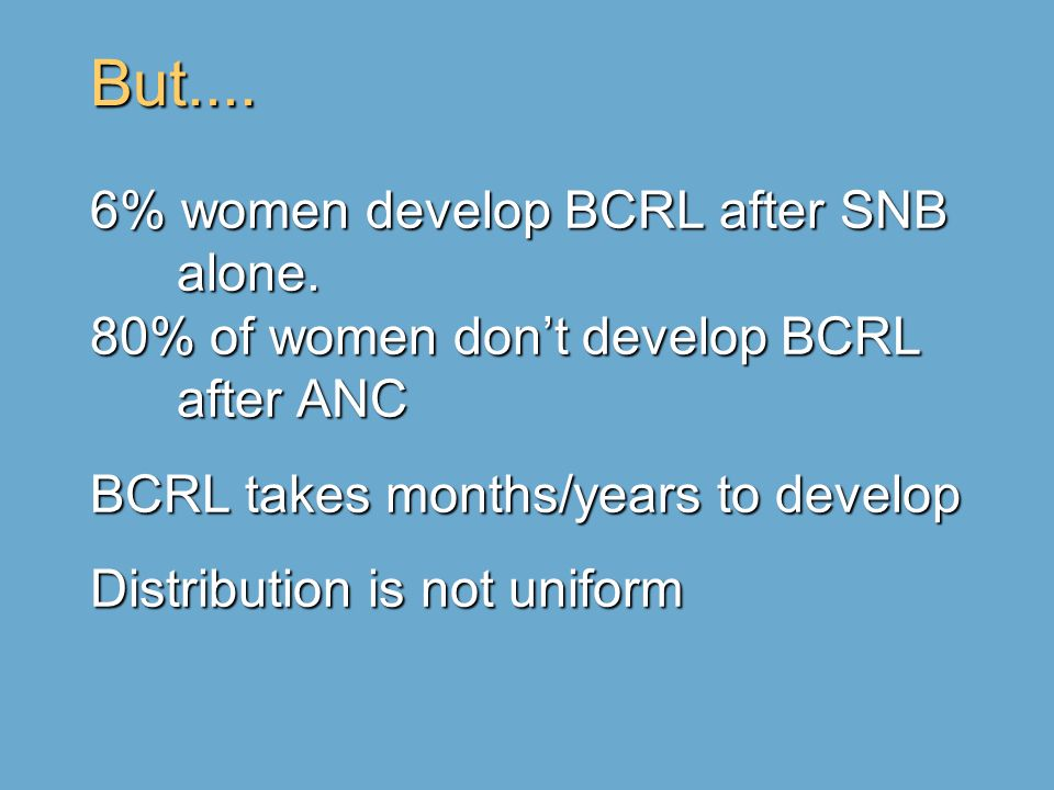 But.... 6% women develop BCRL after SNB alone.