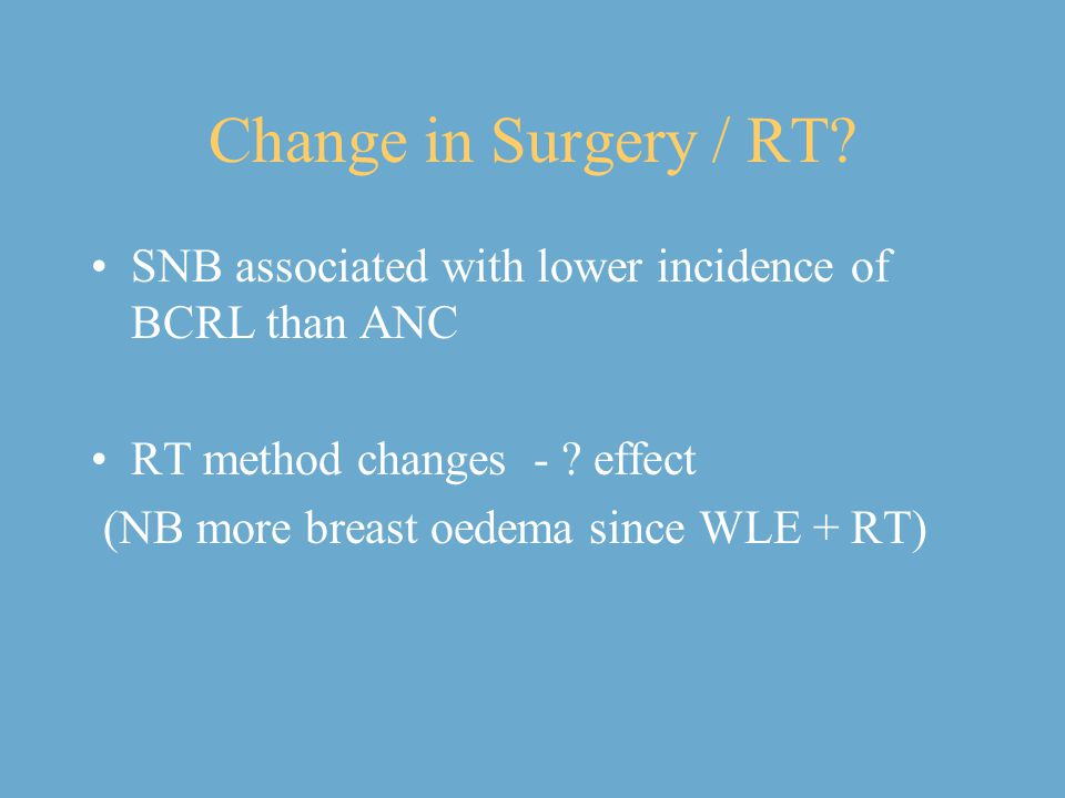 Change in Surgery / RT SNB associated with lower incidence of BCRL than ANC. RT method changes - effect.