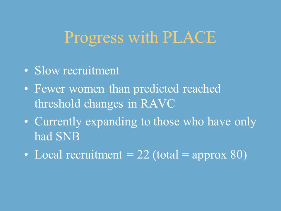 Progress with PLACE Slow recruitment