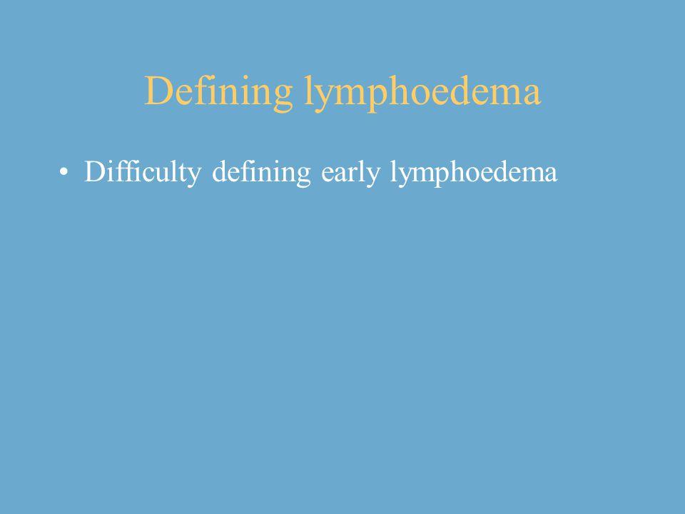 Defining lymphoedema Difficulty defining early lymphoedema