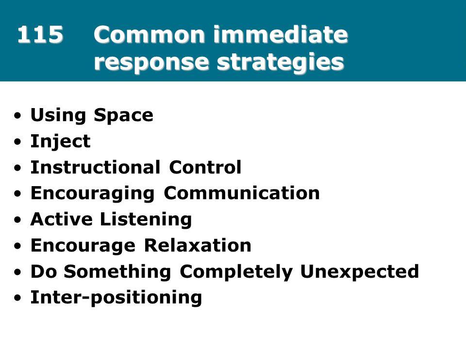 115 Common immediate response strategies