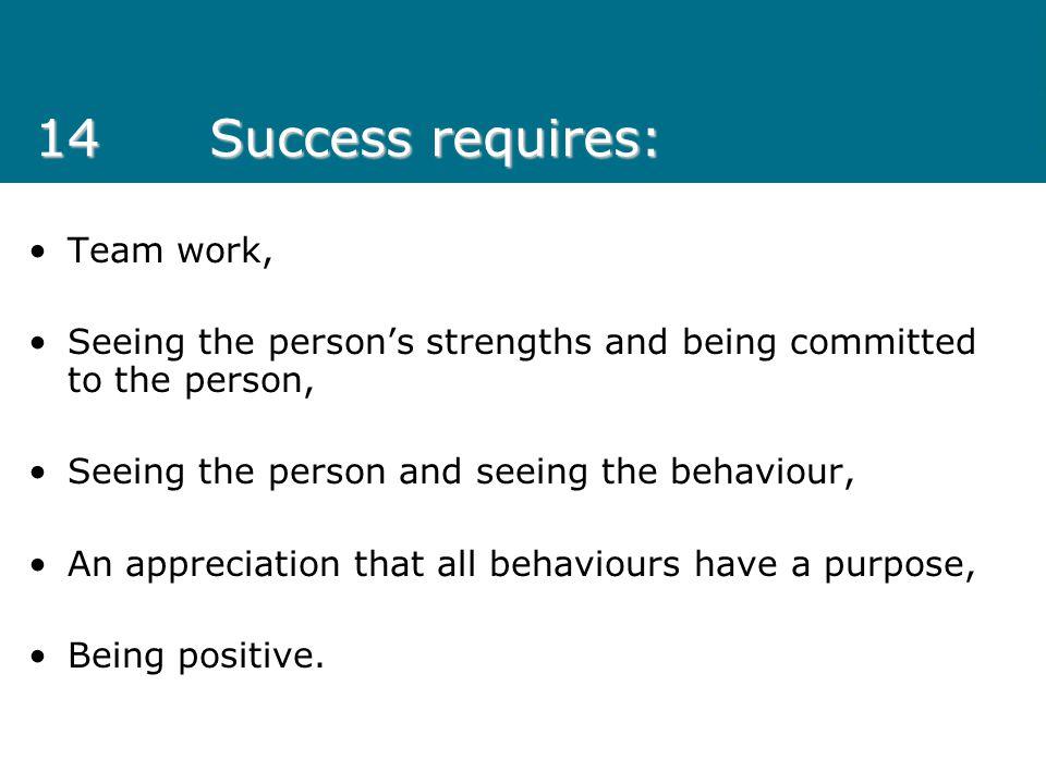 14 Success requires: Team work,