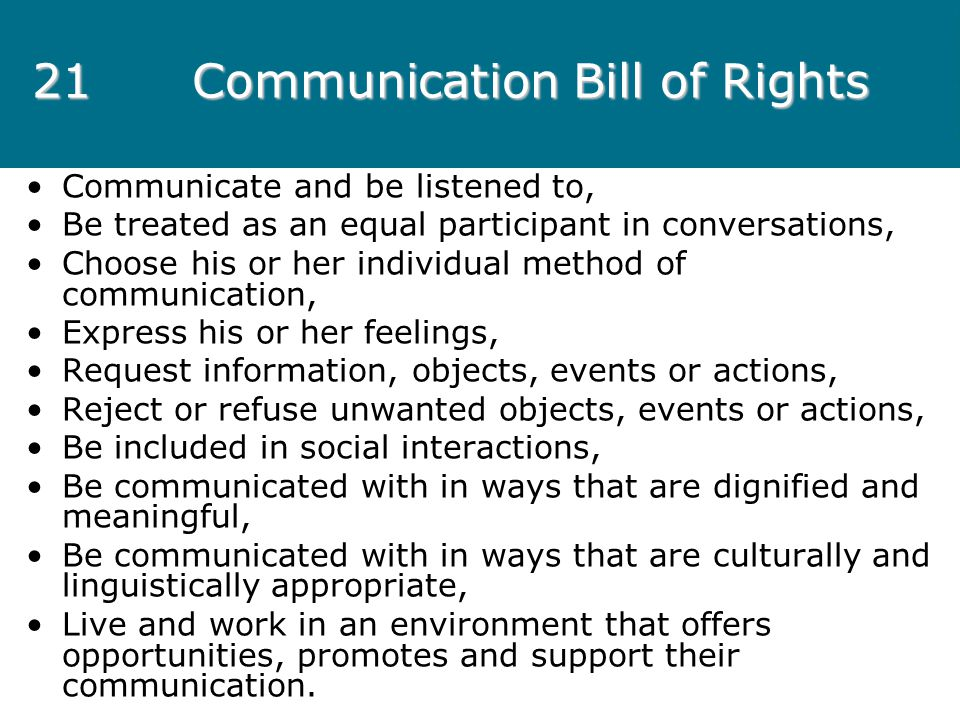 21 Communication Bill of Rights