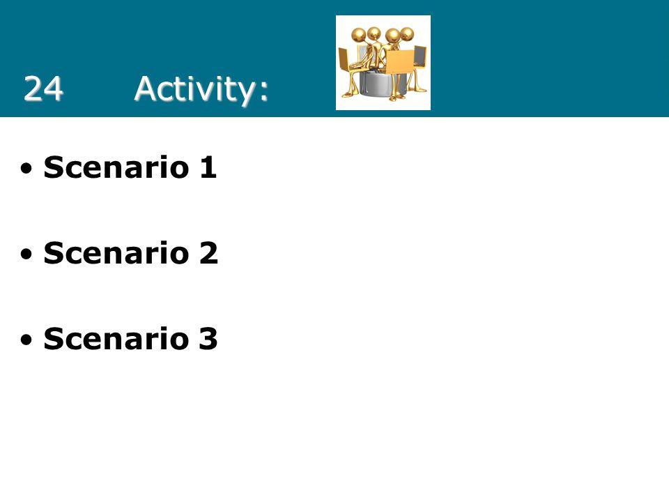 24 Activity: Scenario 1 Scenario 2 Scenario 3