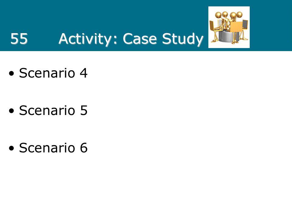 55 Activity: Case Study Scenario 4 Scenario 5 Scenario 6