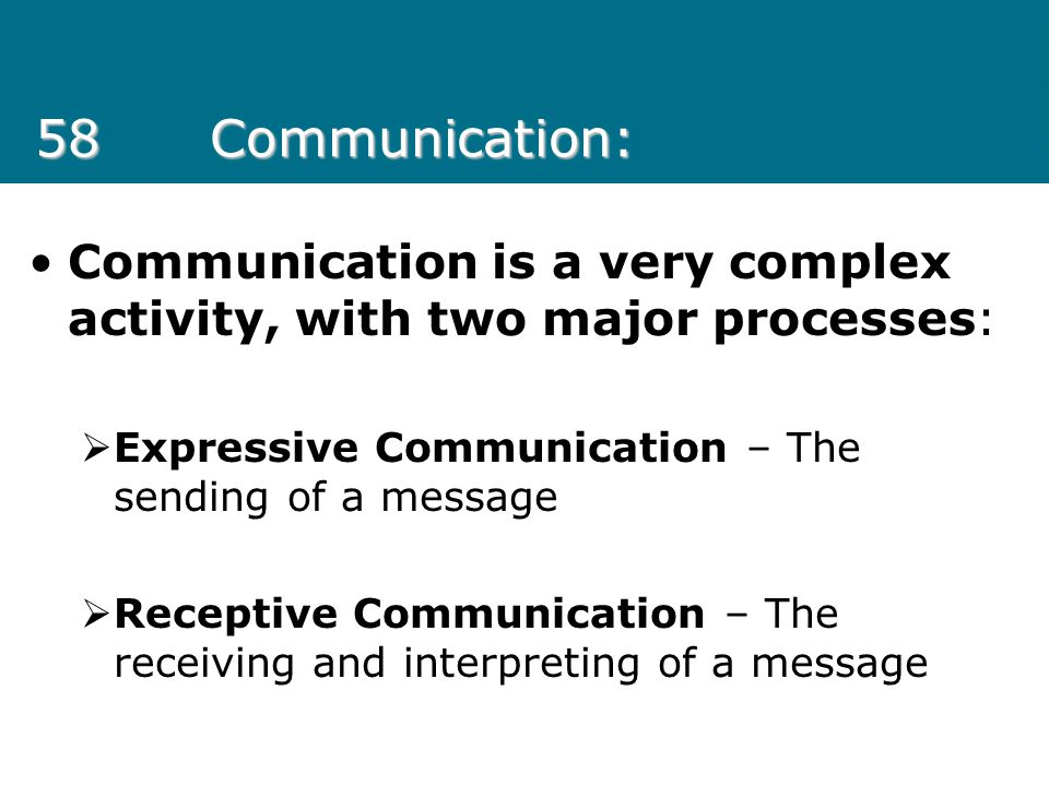 58 Communication: Communication is a very complex activity, with two major processes: Expressive Communication – The sending of a message.