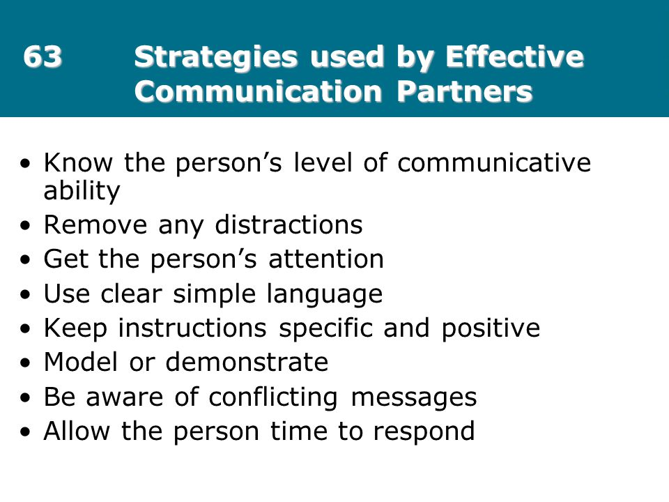 63 Strategies used by Effective Communication Partners