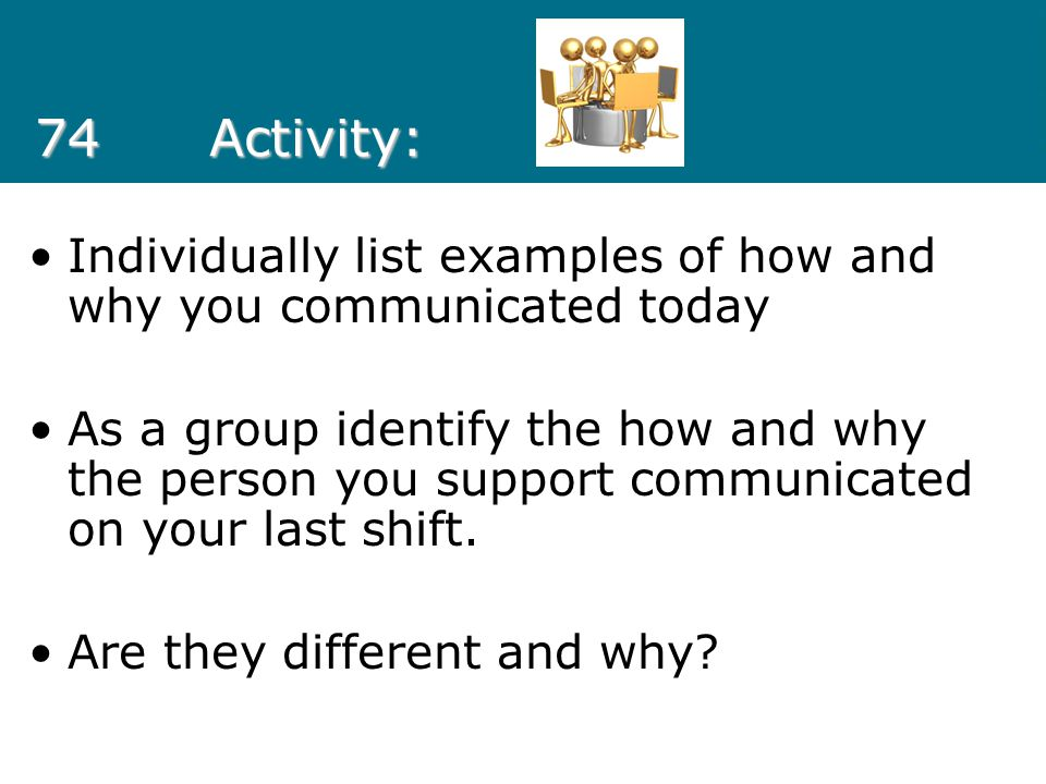 74 Activity: Individually list examples of how and why you communicated today.