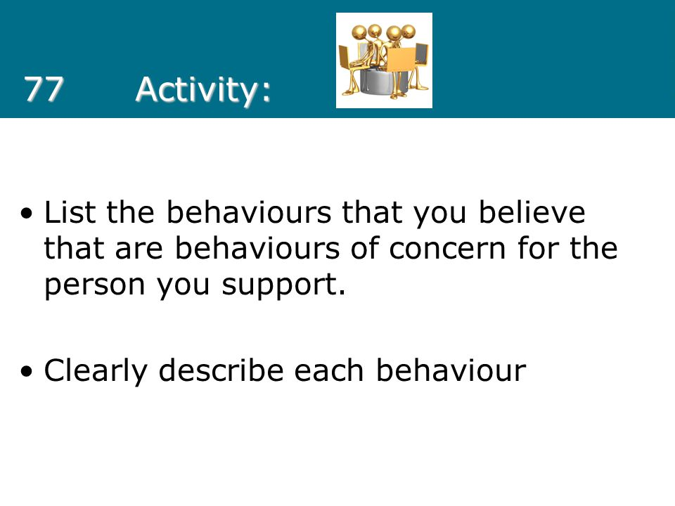 77 Activity: List the behaviours that you believe that are behaviours of concern for the person you support.