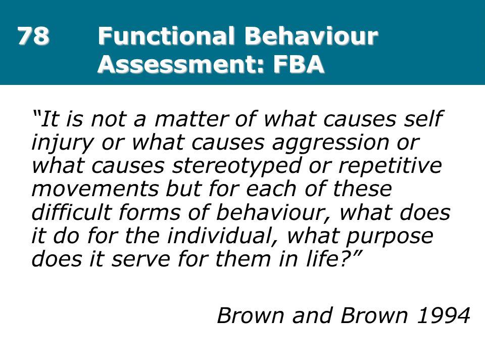 78 Functional Behaviour Assessment: FBA