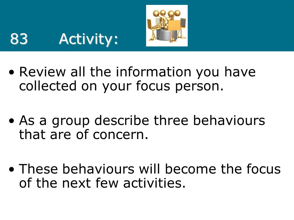 83 Activity: Review all the information you have collected on your focus person. As a group describe three behaviours that are of concern.