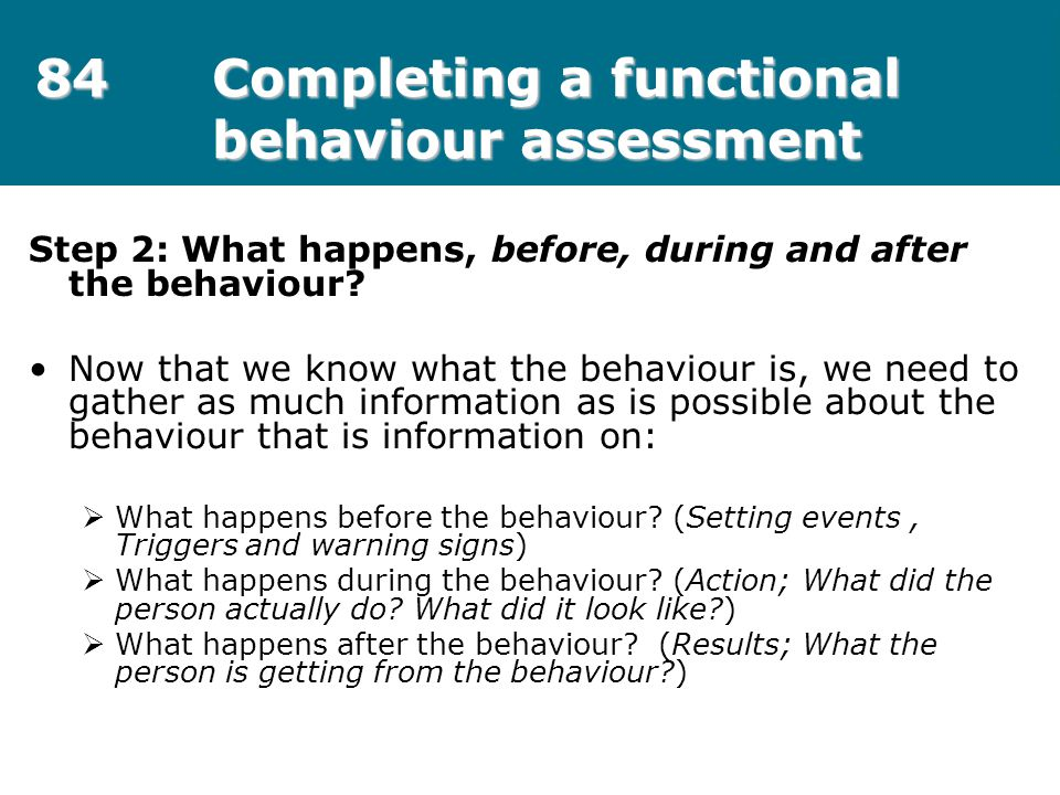 84 Completing a functional behaviour assessment
