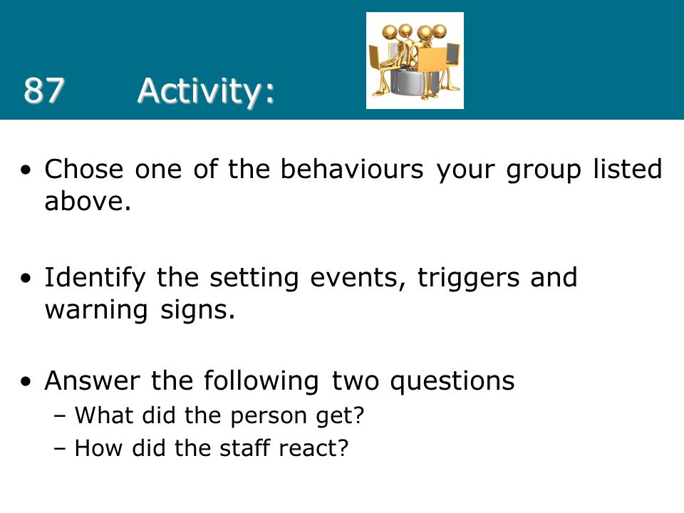 87 Activity: Chose one of the behaviours your group listed above.